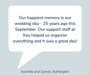 Jeanette and Garnet share their favourite memory - their wedding day!