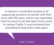 Mairi shares a touching memory for Day 36